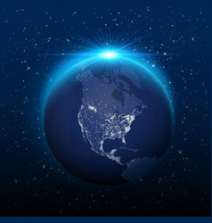planet earth view from space to nocturnal america vector image vector image