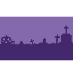 Pumpkins halloween in tomb silhouette vector