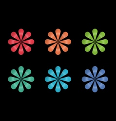 Rainbow flower logo icons and design elements vector