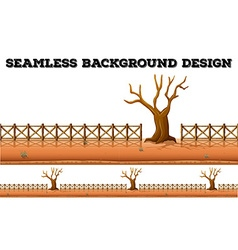 Seamless background with dried tree and fence vector
