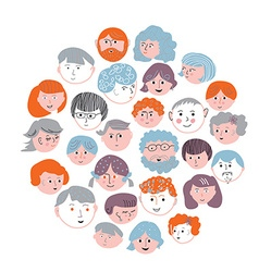 Set of faces cartoons card - round design vector image
