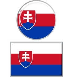 Slovakia round and square icon flag vector