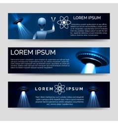 Space banners with alien and spaceship vector