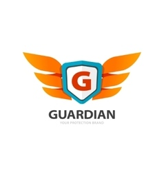 Guardian protection logo wings with shield and vector