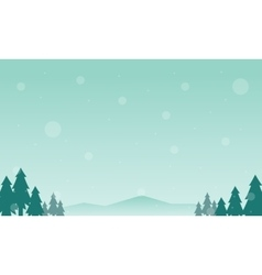 Silhouette of tree and mountain winter vector