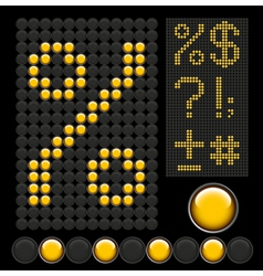 Yellow button letters 7 vector