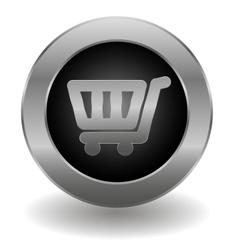 Metallic shopping cart button vector image