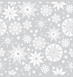 Silver grey and white abstract doodle stars vector