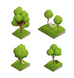 Tree swing icon set vector