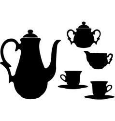 Tea or coffee set silhouettes vector