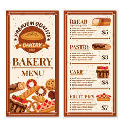 bakery menu design vector image