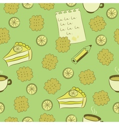 Seamless pattern with cakes lemon and tea vector