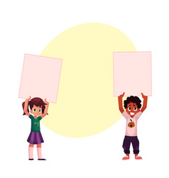Two kids holding blank empty posters boards over vector