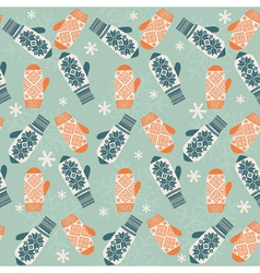 Seamless background with mittens vector