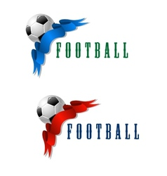 Football or soccer ball symbol with blue and red vector image