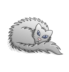Light grey fluffy cat vector