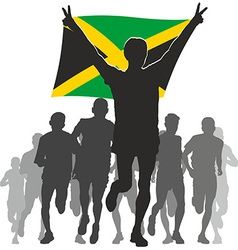 Athlete with the jamaica flag at the finish vector