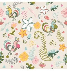 Seamless pattern with parrots and tropical plants vector