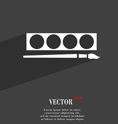 Paint brush with palette symbol flat modern web vector