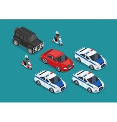 Police Motorcade Car Flat Design vector image