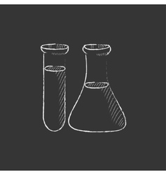 Test tubes drawn in chalk icon vector