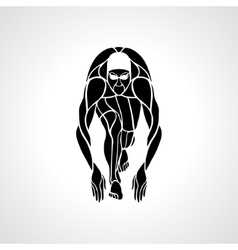 Swimmer at starting block silhouette vector