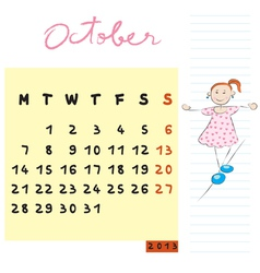 october 2013 vector image