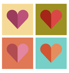 Assembly flat icons poker hearts suit vector