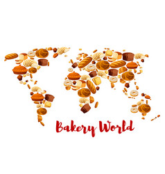 bakery bread or desserts world map vector image vector image