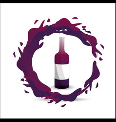 Bottle with bubble of wine icon vector