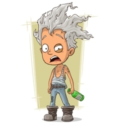 Cartoon crazy old man with gray hair vector image vector image
