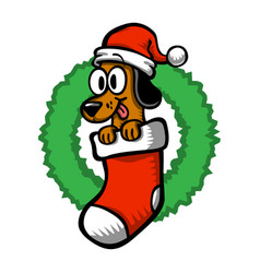 Cartoon dog santa hat christmas stocking vector