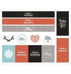 Christmas and New year collection vector image vector image
