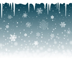 Christmas snowy background with icicles vector
