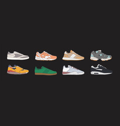 collection of trendy trainer shoes isolated on vector image