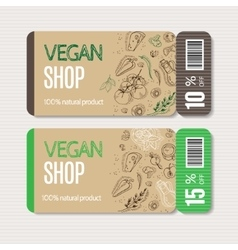 Coupons templates with organic vegetables vector image