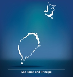 Doodle map of sao tome and principe vector