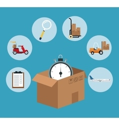 fast time delivery transport logistic vector image