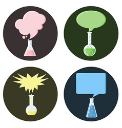 flasks with speech bubbles set of icons vector image vector image