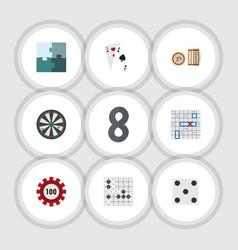 Flat icon entertainment set of jigsaw ace sea vector