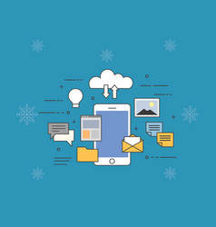 flat of cloud for smartphones vector image