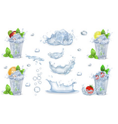 fruit cocktails with ice and mint vector image