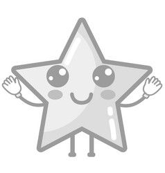Grayscale kawaii cute happy star sparkly vector