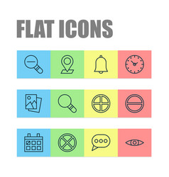 icons set collection of refuse bell pinpoint vector image vector image