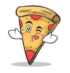 kissing face pizza character cartoon vector image