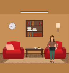 living room interior with woman working on a vector image vector image