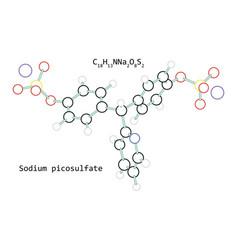 Molecule sodium picosulfate c18h13nna2o8s2 vector