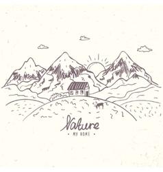 Mountain sketch vector
