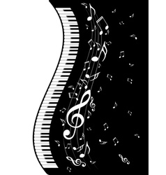 Piano keyboard with music notes2 vector