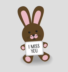 Pink bunny with message i miss you vector